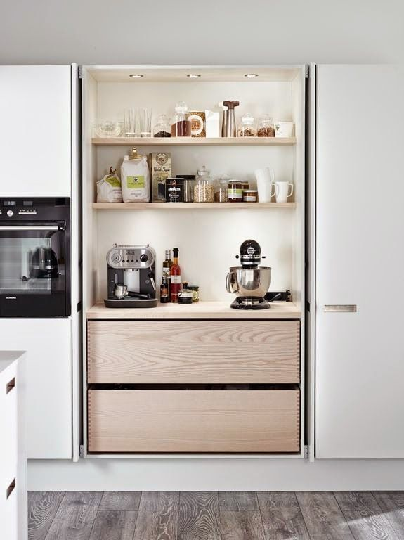 How to design a butler 39 s pantry - Retractable kitchen cabinet doors ...